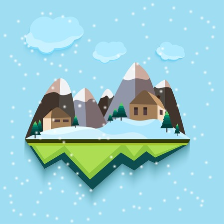 flat style. Snowing Town. Vector
