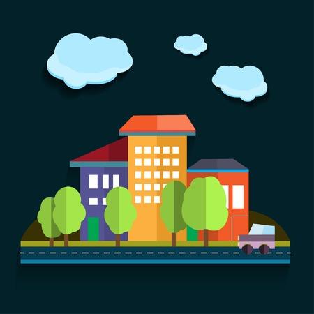 Illustration urban landscape. Color flat design Vector
