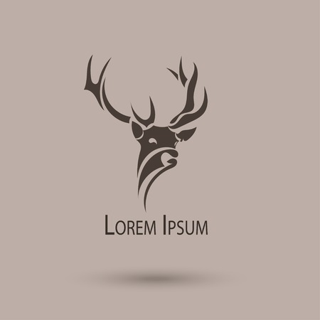 antlers silhouette: Vector stylized head of a deer.