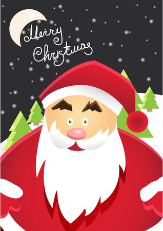 Cartoon Santa Claus with Merry Christmas Label for Holiday Invitations and Greeting Cards. Xmas Poster Winter with Snowflakes A4 Size Vector