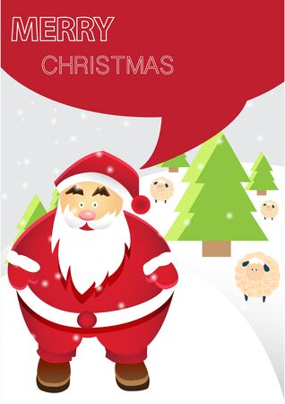 Santa Claus with Merry Christmas Winter Landscape Illustration with Snowflakes and Sheeps, A4 Size Vector