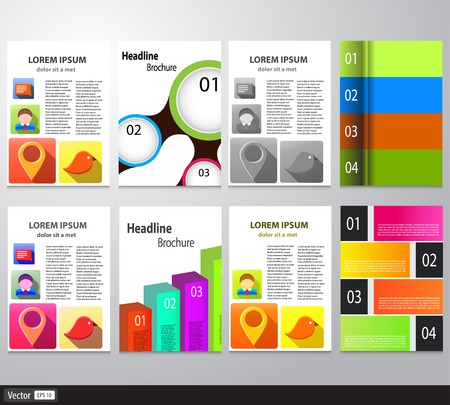Set of Flyer, Brochure Design Template. Vector Abstract Colorful Background With Infographics, A4 Size Vector