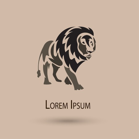 Vector stylized lion icon, vector outline - elegant big cat design Illustration