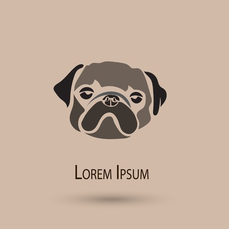 pug dog: Vector stylized pug dog icon. Cute illustration