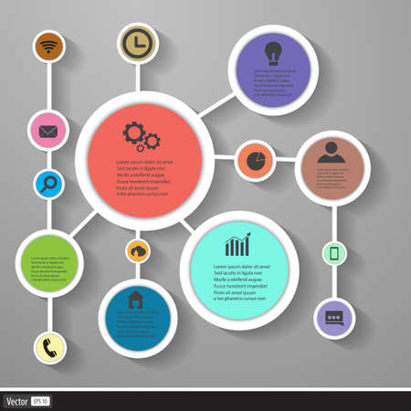 Business elements infographic with flat design. Vector geometric shape, creative idea. Vector