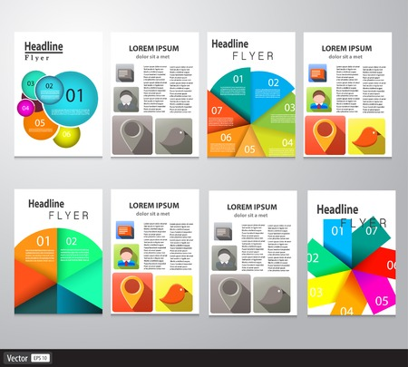 Set of Flyer, Brochure Design Templates. Abstract Modern Backgrounds. Modern Technologies, Applications and Online Services Infographic Concept. Vector