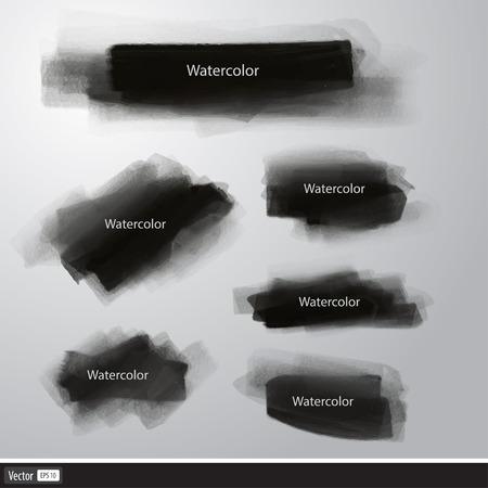 Realistic set black texture brush. Vector watercolor illustration Vector