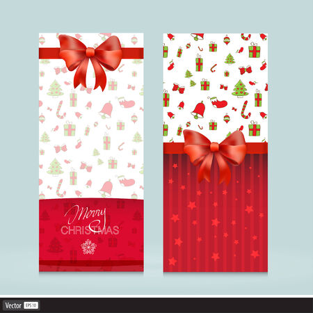 Creative Greeting Cards With Red Bows. Christmas Vector Illustration. Invitation for holiday. Vector