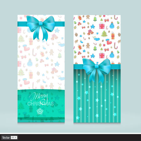 Vector Creative Greeting Cards With Bows. Christmas Flyer Illustration. Invitation for holiday. Vector