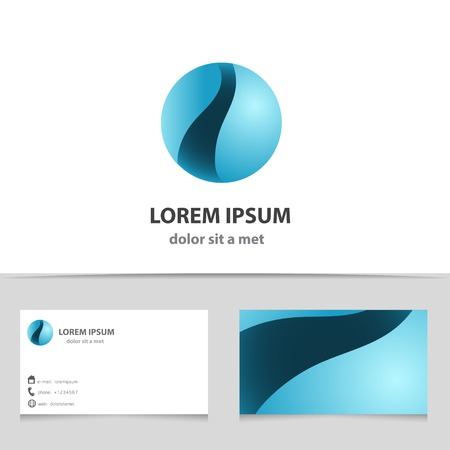media logo: Sphere abstract vector icon design template. Business technology circle shape. Sci-fi creative concept with business card.