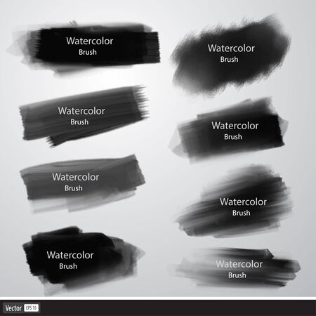 Vector set of watercolor brushes. Black brush strokes. Vector