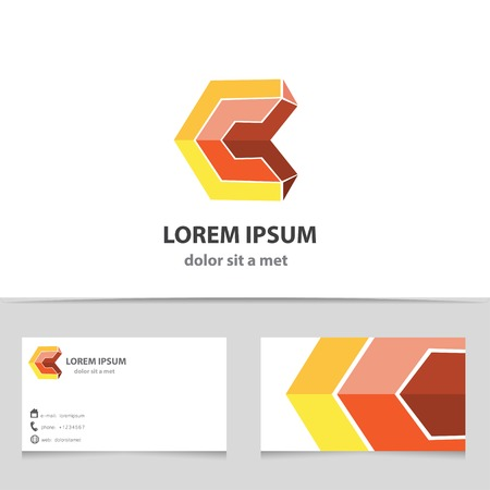 c design: Vector abstract 3d shape letter C. Geometric business icon with business card template.