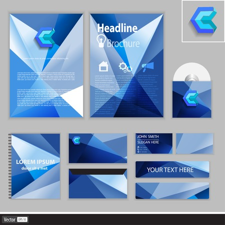 id card: Creative corporate identity for your business. Modern idea of geometric shapes. Vector illustration. Illustration