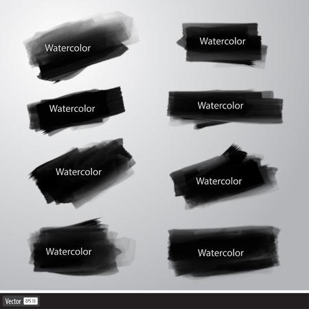 Set of vector watercolor brushes. Art black brush strokes. Illustration