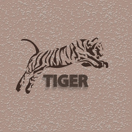 bengal: Tribal tiger jump - vector tattoo