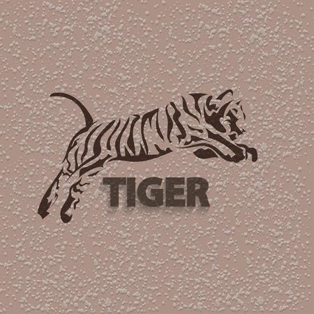 Tribal tiger jump - vector tattoo Vector Illustratie