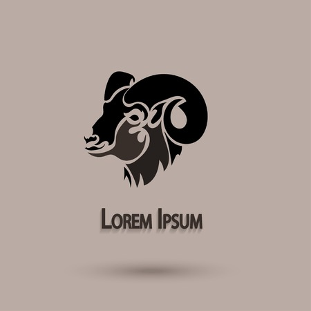 mouflon: Vector silhouette head wild sheep. Stylized animal with brown background. Artistic idea.