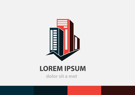 Vector building icon for business. Modern concept architecture. Creative idea for your company. Çizim