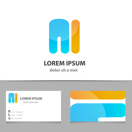 Vector creative icon, letter M with template business card. Modern idea for your company. Vector