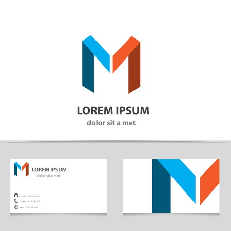 Vector creative icon, letter M with a template business card. Modern design with ribbons.