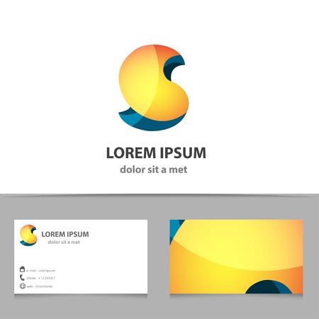 s: Vector creative abstract shape for company with business card template. 3d modern idea. Letter S.