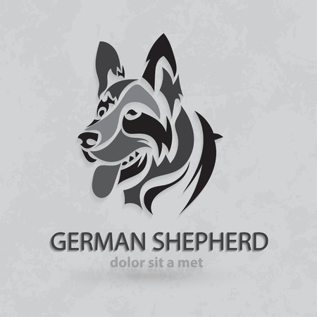Vector stylized silhouette German Shepherd. Artistic creative design with grungy background. Çizim