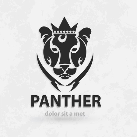 Vector stylized silhouette panther. Artistic creative design. Sketch for tattoo.  イラスト・ベクター素材