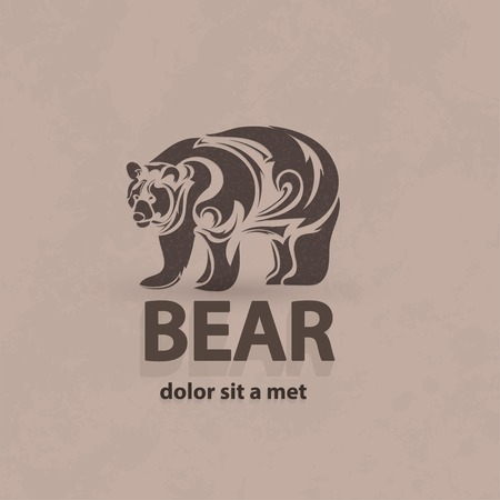 Vector stylized silhouette bear. Artistic creative design.