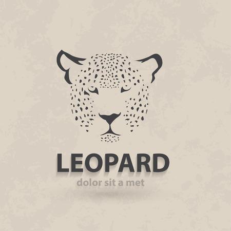 Vector stylized silhouette face leopard. Artistic creative design. Retro style. Иллюстрация