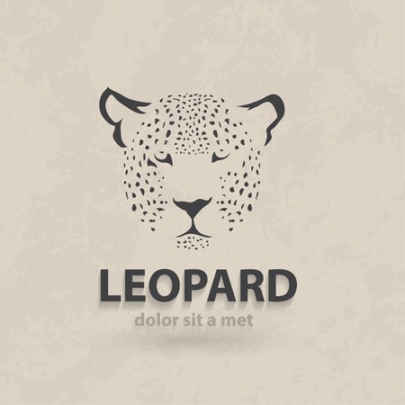 leopard: Vector stylized silhouette face leopard. Artistic creative design. Retro style. Illustration