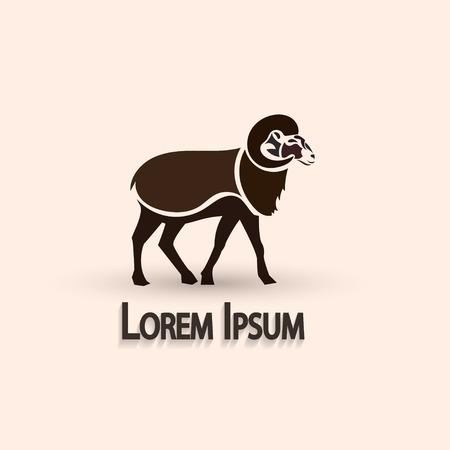 mouflon: Stylized ram. Vector illustration. Creative artistic concept.