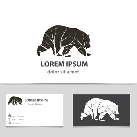 grizzly: Vector bear icon with business card template. Creative idea for your company. Silhouette Animal with tree.