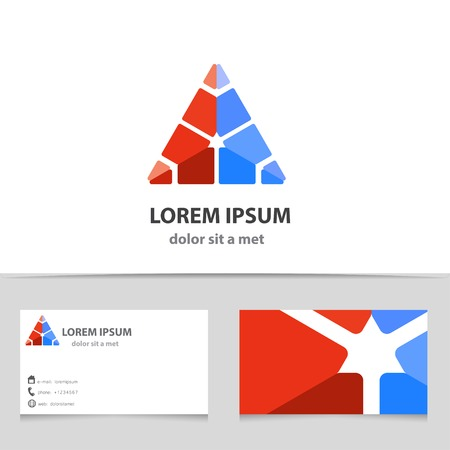 identities: Vector abstract triangle icon with business card template. Modern design for your company. Creative illustration with geometric shape.