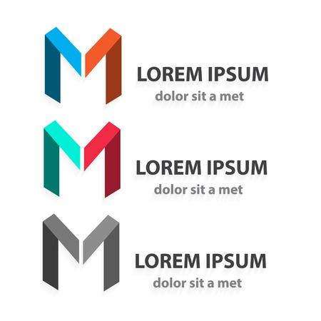 papier a lettre: Creative vecteur origami, icône, ensemble, lettre m. Forme d'un ruban Résumé. Idée moderne pour votre entreprise.