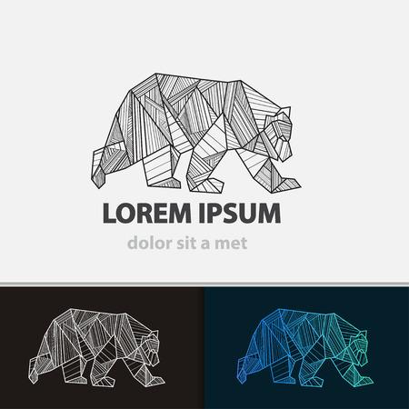 創造的な様式化されたアイコンのクマ。ベクトル アイデア凶暴な獣。三角形のライン。