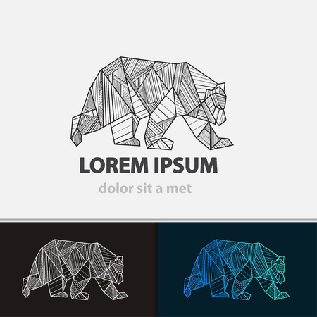 Creative stylized icon bear. Vector idea ferocious beast. Triangle shape with lines. 向量圖像