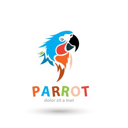macaw: Stylized artistic parrot icon. Creative colorful design shape. Vector silhouette bird.