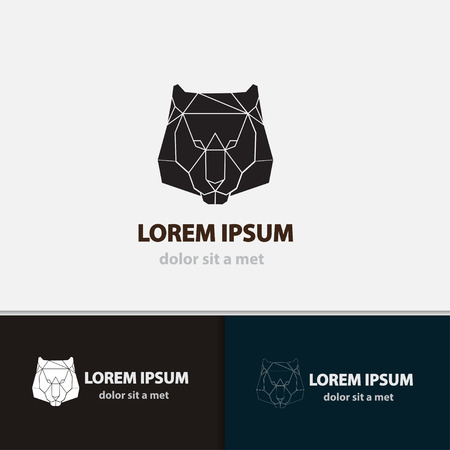polygonal: Lion face emblem template for business. Vector polygonal idea animal. Creative geometric shape design.