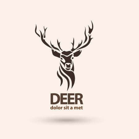 head shape: Creative art icon stylized deer. Modern idea for your company. Silhouette wild animal. Vector illustration.