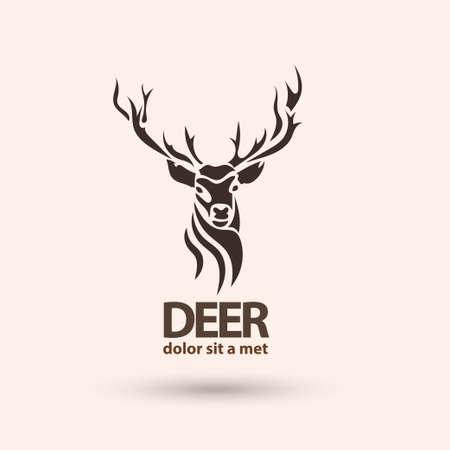 cuernos: Icono del arte creativo venado estilizado. Idea moderna para su empresa. Silueta animal salvaje. Ilustración del vector.