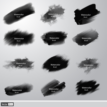 Vector collection black watercolor paint brushes. Artistic strokes. Illustration