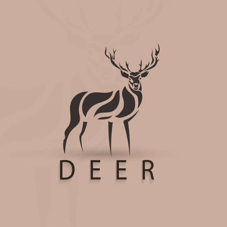 stylised: Artistic stylized deer shape. Vector silhouette wild animal. Creative art design.