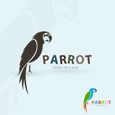 Artistic stylized parrot icon. Silhouette birds. Creative art design. Vector illustration. Çizim