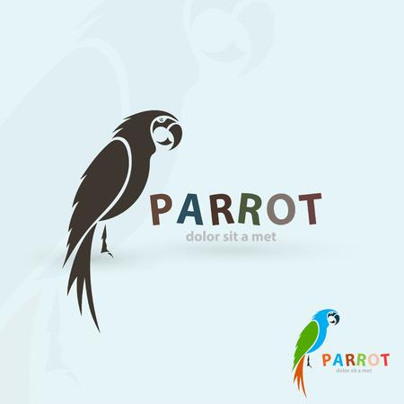 Artistieke gestileerde papegaai pictogram. Het silhouet van vogels. Creatieve art design. Vector illustratie.