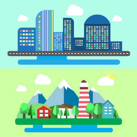 rural landscapes: Colorful set of urban and rural landscapes. Creative flat design of nature and cities. Trendy business concept. Vector illustration.
