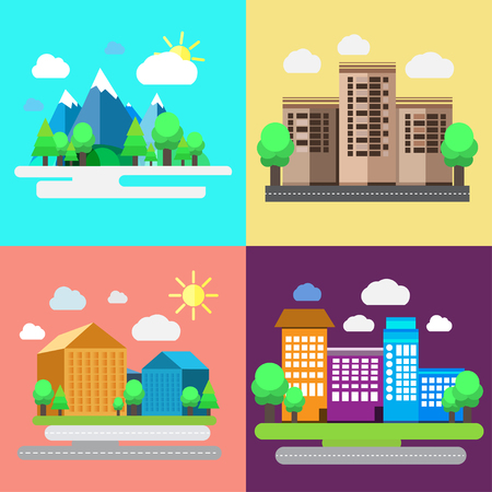 Colorful set of urban and rural landscapes. Creative flat design of nature and cities. The modern business concept. Vector collection. Çizim