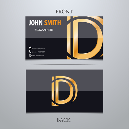 Vector gold metallic business card template, letter D. Trendy business elements. Illusztráció
