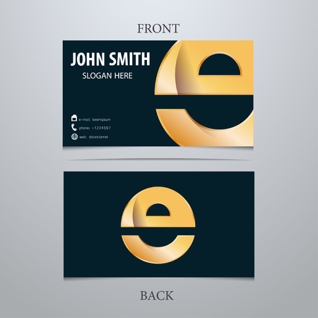 Vector gold metallic business card template, letter E. Trendy business elements. Stock fotó - 38134648