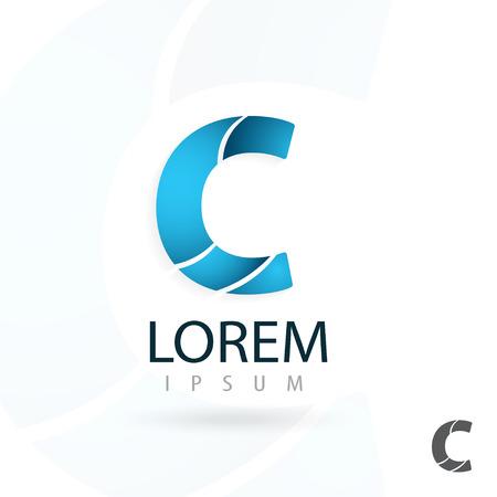 Creative logo design, letter C. Colorful vector icon. Trendy business elements.