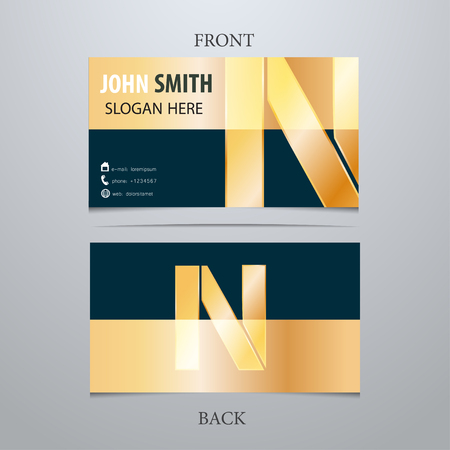 Vector gold metallic business card template, letter N. Trendy business elements.